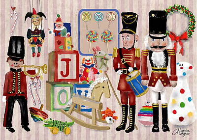 Xmas Cards Digital Art - Nutcracker And Friends by Arline Wagner