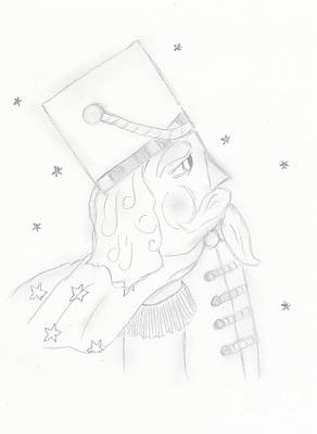 Drawing - Nutcracker Toy Soldier In Black And White by Sonya Chalmers