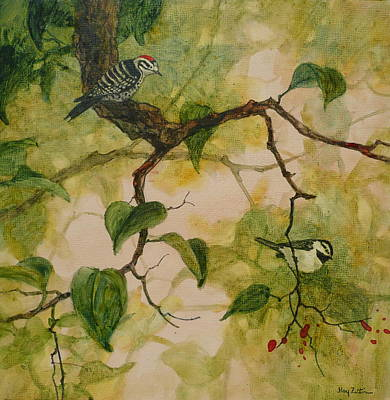 Wall Art - Painting - Nuttall's Woodpecker And Chickadee by Floy Zittin