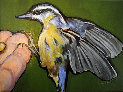 Painting - Nutty Nuthatch by Edith Hunsberger