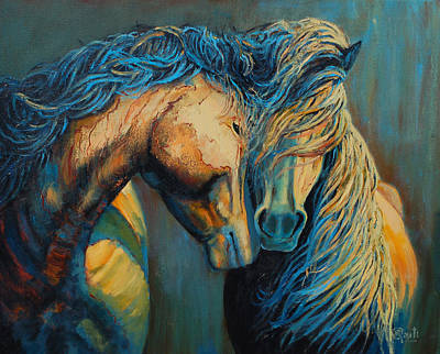 Horses Painting - Nuzzling by Ritch Gaiti