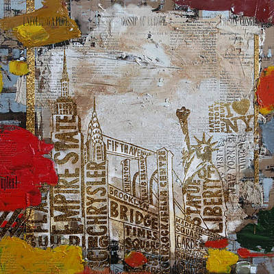 Brooklyn Bridge Painting - Ny City Collage 7 by Corporate Art Task Force