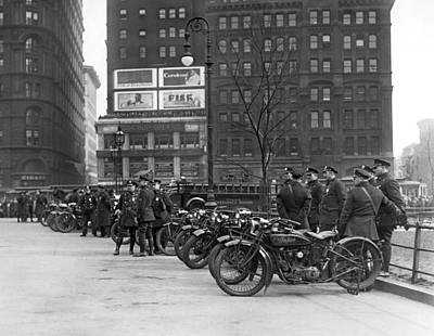 Cops Photograph - Ny Motorcycle Police by Underwood Archives
