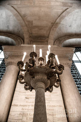 Photograph - Ny Public Library Candelabra by Angela DeFrias
