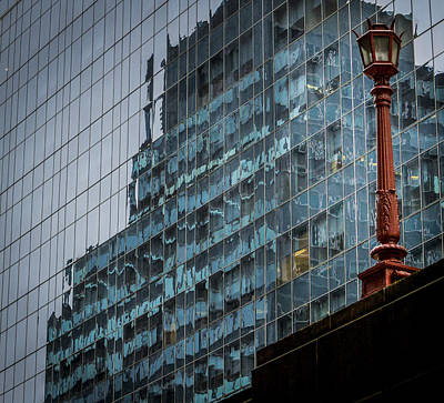 Photograph - Ny Reflections With Lamp by Jean Noren
