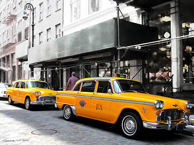 Digital Art - Ny Streets - Yellow Cabs 1 by Gabriel T Toro