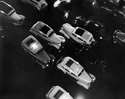 Ny Taxis On A Rainy Night Art Print by Underwood Archives