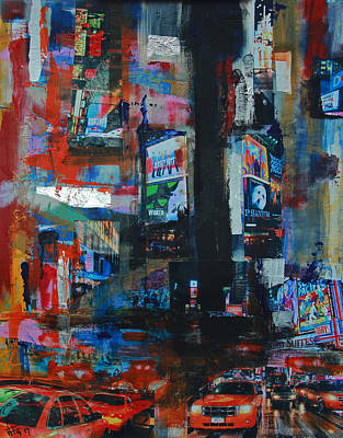 Painting - Ny Times Square Night 2 by Walter Fahmy