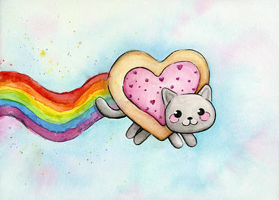 Cat Art Painting - Nyan Cat Valentine Heart by Olga Shvartsur