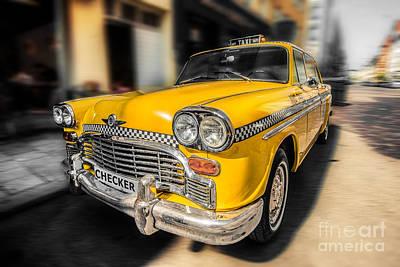 Nyc - Checker -yellow Art Print by Hannes Cmarits