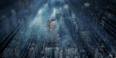 Haze Photograph - Nyc Blue Impact by Leif L?ndal