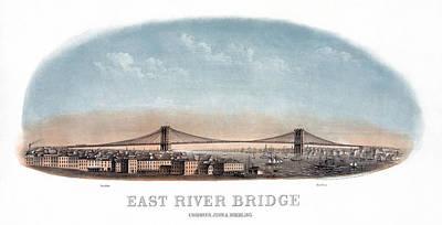 Brooklyn Bridge Drawing - Nyc Bridge, 1873 by Granger