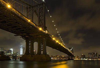 Photograph - Nyc Bridges At Night by Eduard Moldoveanu