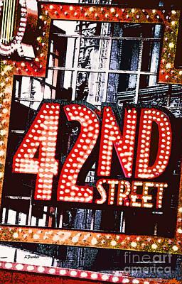 42nd Street Digital Art - Nyc-broadway Lights by Linda  Parker