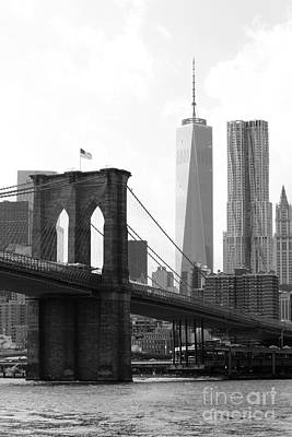 Nyc Brooklyn Bridge And One World Trade Center Art Print by Robert Yaeger
