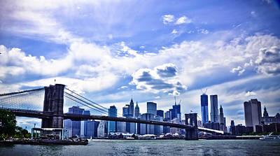 Nyc Brooklyn Bridge City Print by Alex Pochinok