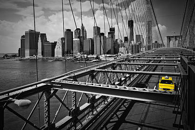 Nyc Brooklyn Bridge View Print by Melanie Viola