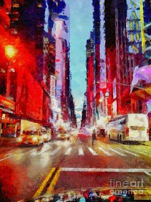 Crosswalk Digital Art - Nyc Fifth Ave by Janine Riley