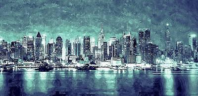 New York City Skyline Mixed Media - Nyc Grunge Skyline by Daniel Janda