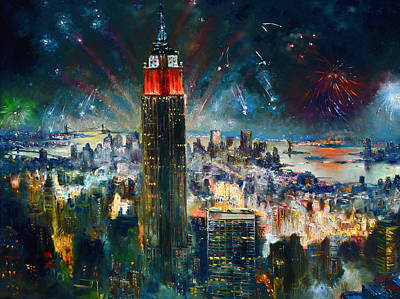 Empire State Building Painting - Nyc In Fourth Of July Independence Day by Ylli Haruni