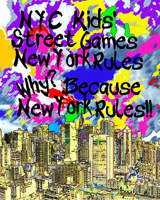 Street Hockey Digital Art - Nyc Kids' Street Games Poster by Bruce Iorio