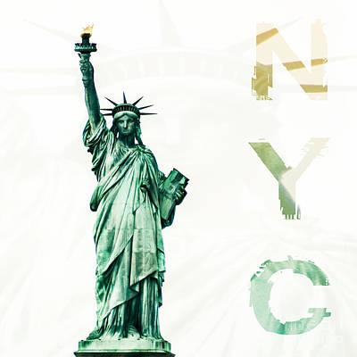 Nyc- Lady Liberty Art Print by Hannes Cmarits