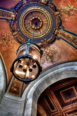 Photograph - Nyc Library Light Ceiling by Dave Beckerman