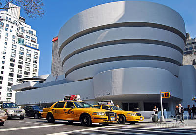 Photograph - New York City - The Guggenheim Museum And Yellow Cabs by Carlos Alkmin