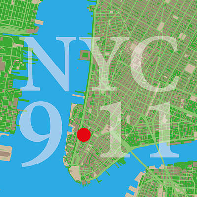 Wtc 11 Digital Art - Nyc Map Twin Towers 9/11 by Big City Artwork