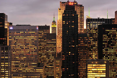 Photograph - Nyc Midtown Golden Lights by Joseph Hedaya