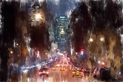 Nyc Night Traffic Art Print by Yury Malkov