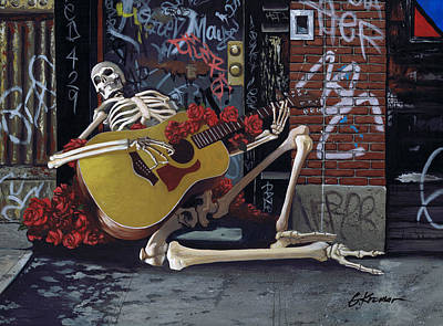 Guitar Player Painting - Nyc Skeleton Player by Gary Kroman