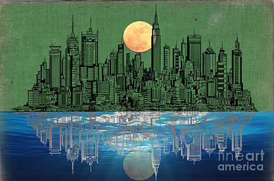 Us Flag Mixed Media - Nyc Skyline by Celestial Images
