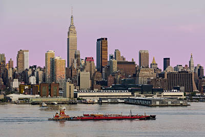 Hudson River Tugboat Photograph - Nyc Skyline And Atb Last Light by Susan Candelario