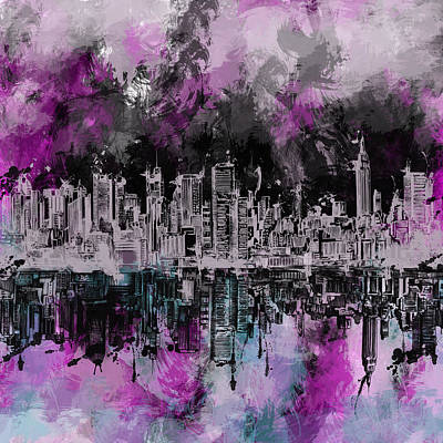 City Scenes Painting - Nyc Skyline Brush Strokes by Bekim Art