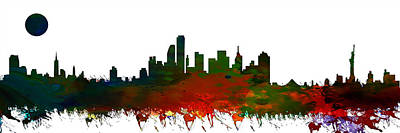 Landmarks Painting Royalty Free Images - NYC Skyline Royalty-Free Image by Celestial Images