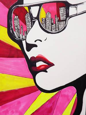 New York City Skyline Drawing - Nyc Skyline Glasses by Amanda Smentkowski