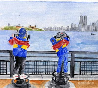 Ellis Island Painting - Manhattan Skyline Memories by Sheryl Heatherly Hawkins