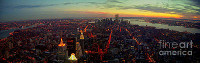 Photograph - Nyc Skyline Panoramic From The Top Of The Empire State Building Before Nine Eleven by Steven Spak