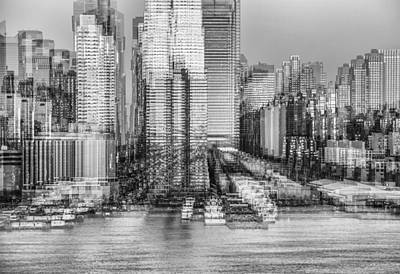 Digital Art - Nyc Skyline Shapes Bw by Susan Candelario