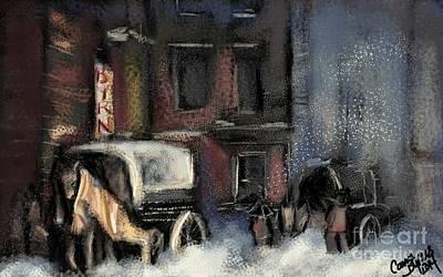 Nyc Digital Art - Nyc Snow 1910 by Carrie Joy Byrnes