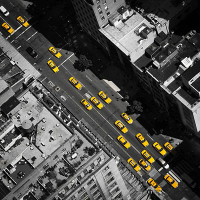 Aerial Photograph - Nyc Taxi by Thomas Richter