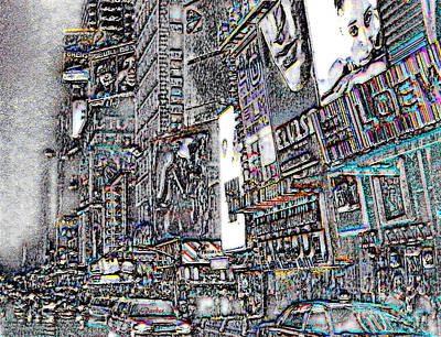 42nd Street Digital Art - Nyc - Times Square by Linda  Parker