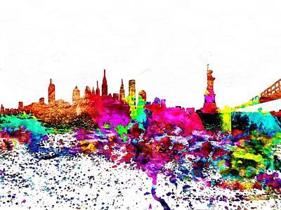New York City Skyline Mixed Media - Nyc Watercolor by Daniel Janda