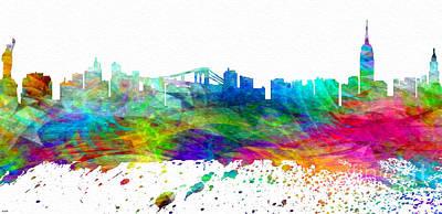 Brooklyn Bridge Mixed Media - Nyc Watercolor Skyline by Daniel Janda