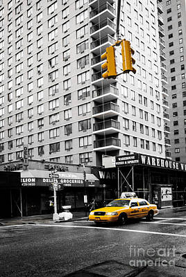 Nyc  Yellow Cab At The Crossroad Art Print by Hannes Cmarits