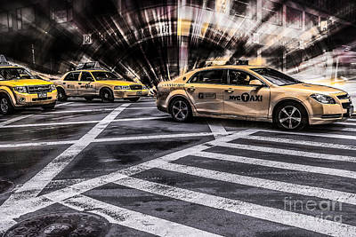 Nyc Yellow Cab On 5th Street - White Print by Hannes Cmarits