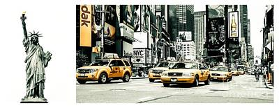 Nyc Yellow Cabs And Lady Liberty -  Ck1 Art Print by Hannes Cmarits