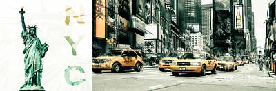 Nyc Yellow Cabs And Lady Liberty  Art Print by Hannes Cmarits