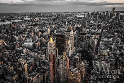 Nycs Golden Tops Art Print by Hannes Cmarits